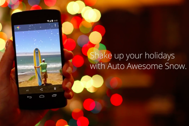 Google+ for Android now lets you shake to add snow to your photos