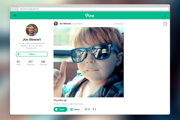 Vine launches web profiles and