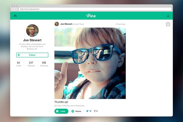 Vine launches web profiles and