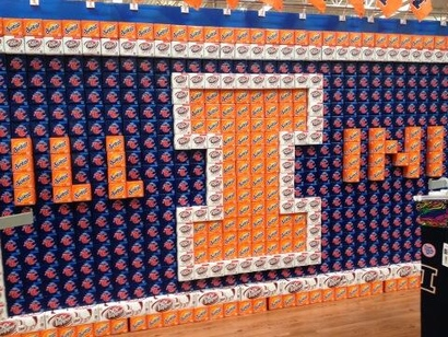 Champaign, Il, Walmart salutes Illinois with display made of soft drink cartons.
