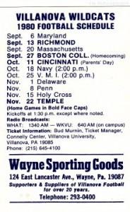 1980 Villanova Football Pocket Schedule