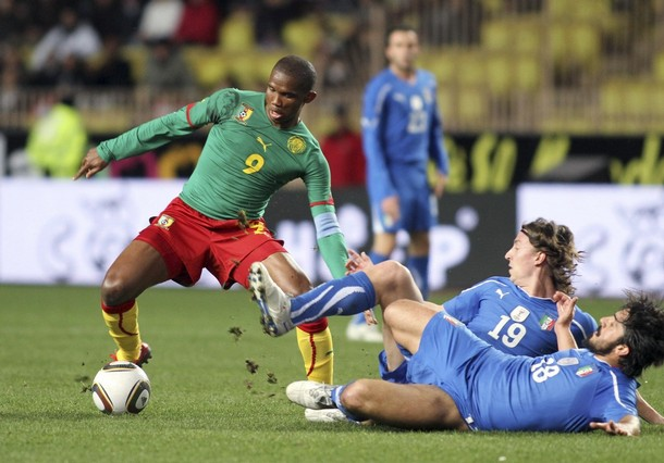 Eto'o with Cameroon against Italy