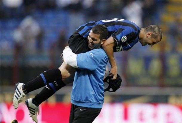 Cristian Chivu gets his first goal for Inter