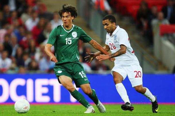 Krhin playing for Slovenia against England