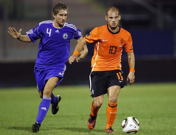 Wesley Sneijder against San Marino. NL won 0-5