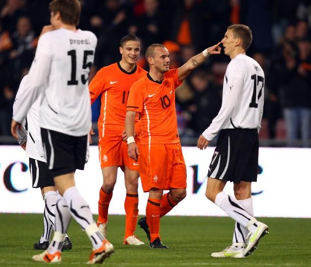 Sneijder after scoring for the Netherlands
