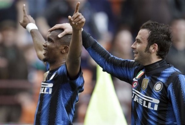Eto'o and Pazzini - star forwards for Inter
