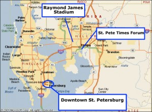 Locations of the three major sport venues in the Tampa Bay area.