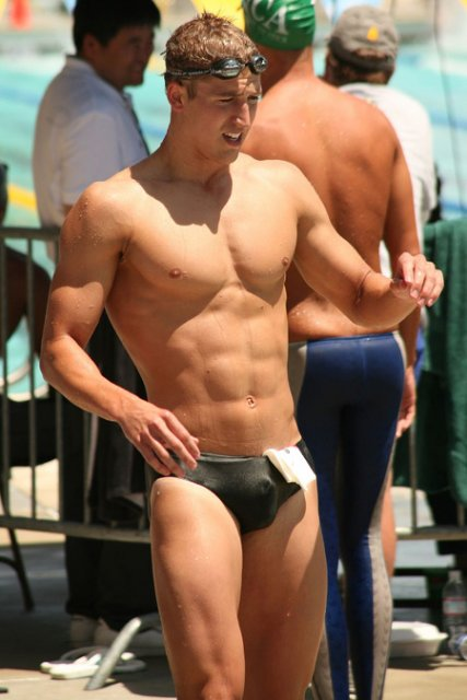 Swimmer in traditional brief swmsuit.