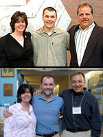 Johnson with his family in 2000, and with his mom and safe schools advocate in 2009.