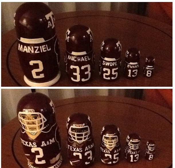 A Johnny Manziel Russian nesting doll? A Johnny Manziel Russian nesting dolls.