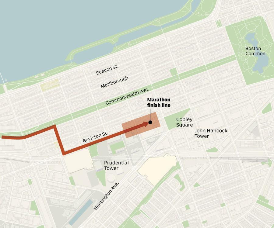 Boston Marathon bombings Updated map of the scene  SBNationcom