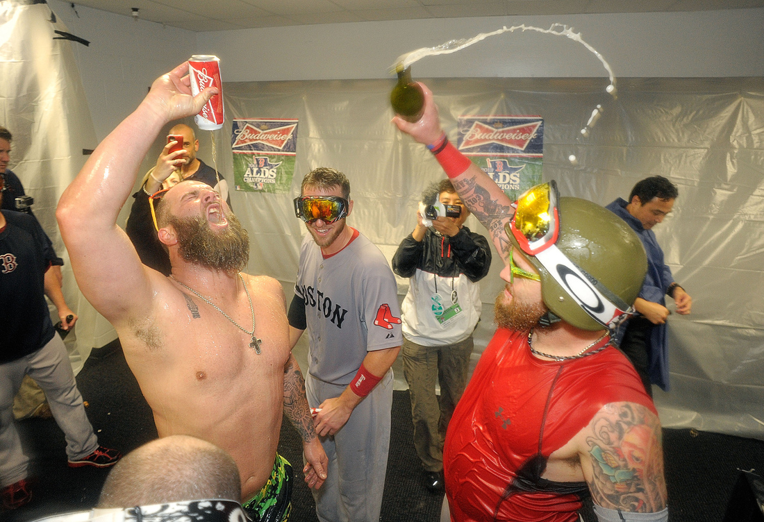Shirtless mike napoli celebrates with helmeted jonny gomes sbnation