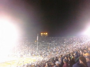 A shot of the scoreboard at Notre Dame Stadium, via Porter, the lucky bastard. He promises me he'll have a better picture up soon enough.