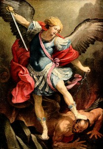 UConn vs. Duke, in which the role of St. Michael the Archangel is portrayed by UConn and Duke plays its traditional role.
