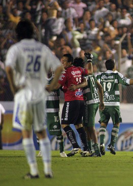 Santos Laguna celebrates their win over the Montreal Impact, March 5, 2009. Image credit: Reuters