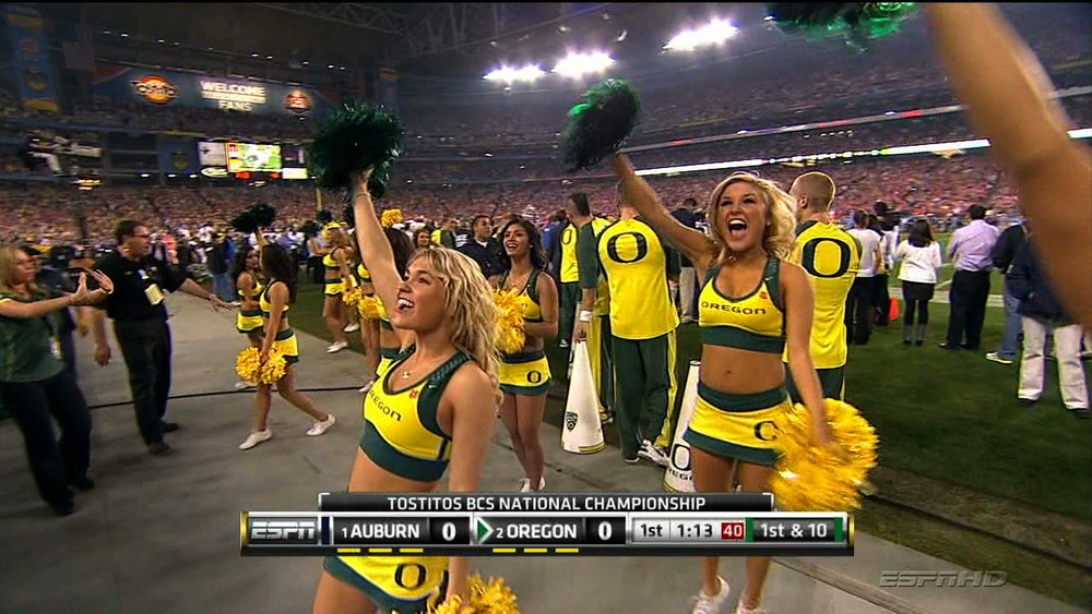 Bottomless Cheerleaders http://www.sbnation.com/ncaa-football/2011/1/10/1927798/oregon-cheerleader-uniforms-bcs-championship