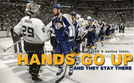 Nashville Predators Hands Go Up Celebration Wallpaper
