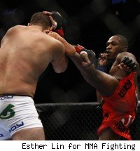 Jon Jones defeats Shogun Rua at UFC 128.