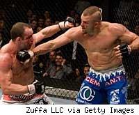 Chuck Liddell punches Wanderlei Silva at UFC 79.