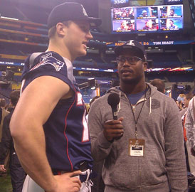 PHOTO: Von Miller Interviews Nate Solder At Super Bowl ...