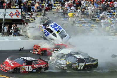 Video of Daytona Nationwide wreck taken from the stands