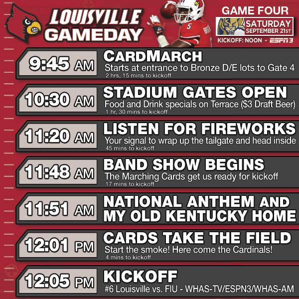 Your Schedule Of Events For Louisville-FIU - Card Chronicle
