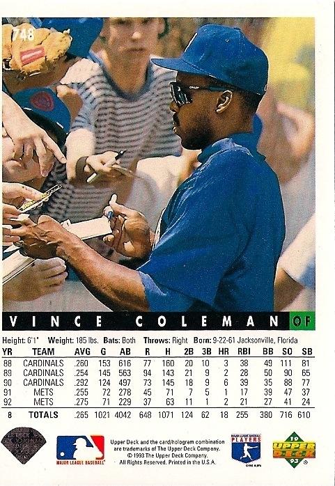 Mets Baseball Card Of The Week 1993 Upper Deck Vince